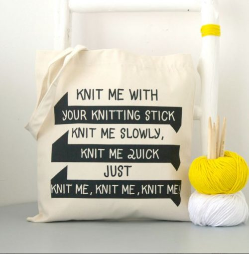 Tas knit me with your knitting sticks